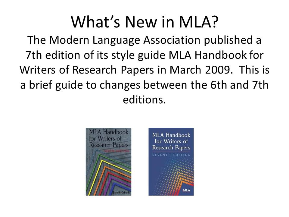What's New in MLA.