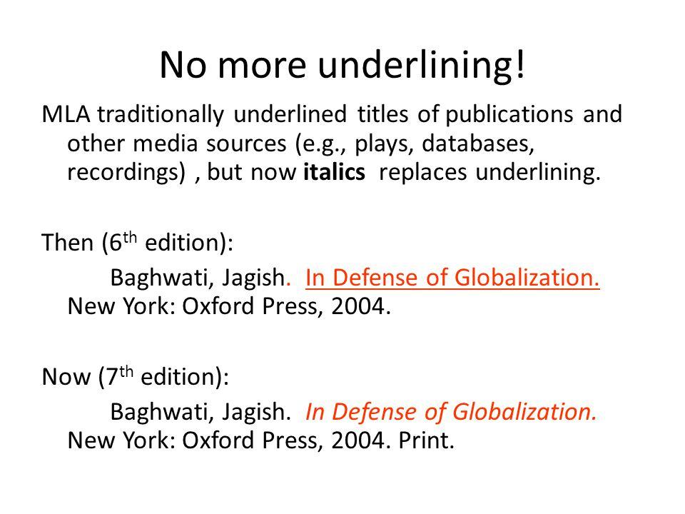 No more underlining.