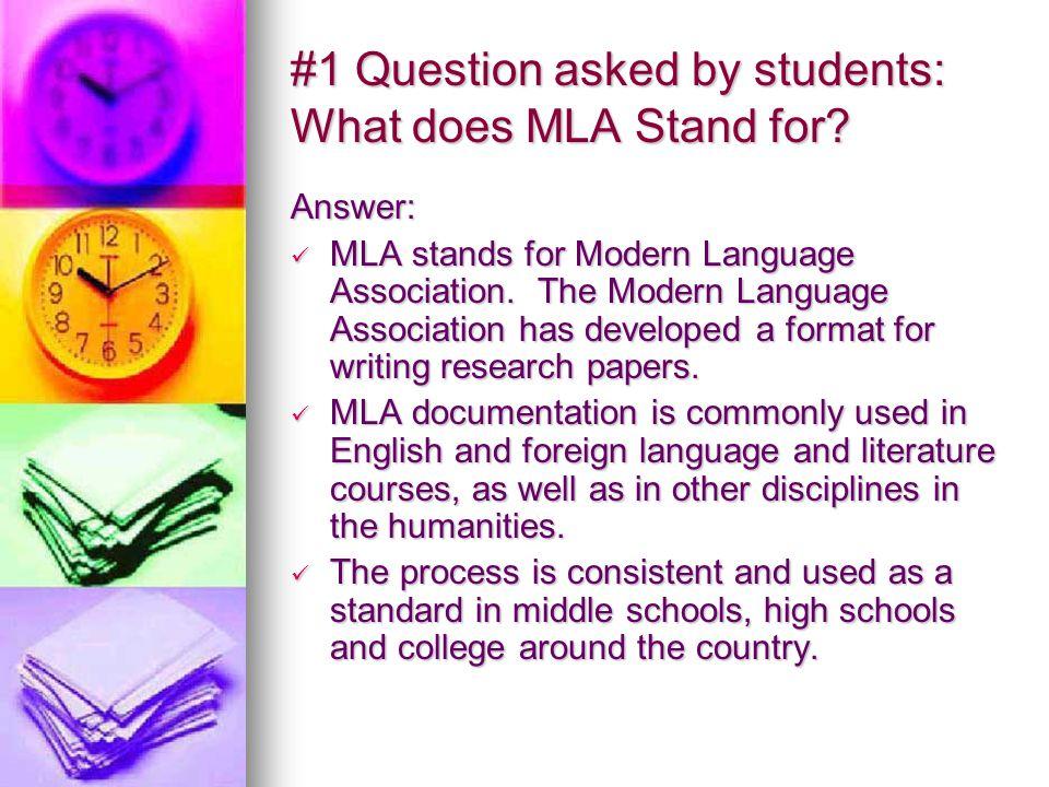 MLA What Presented by the 6-8 th Grade ELA Teachers