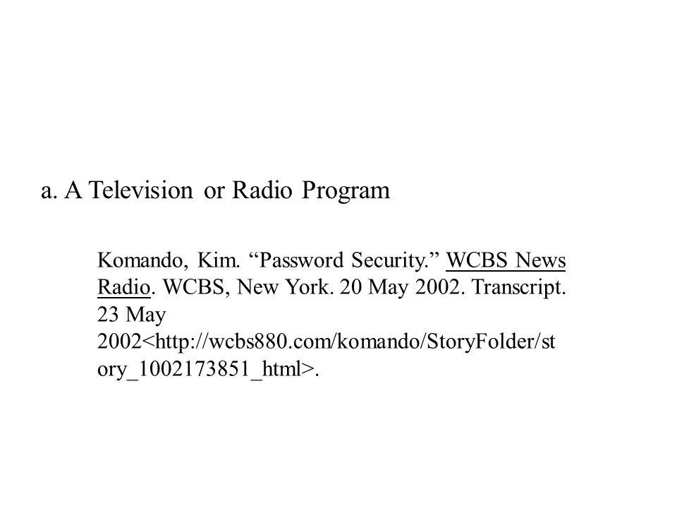 a. A Television or Radio Program Komando, Kim. Password Security. WCBS News Radio.