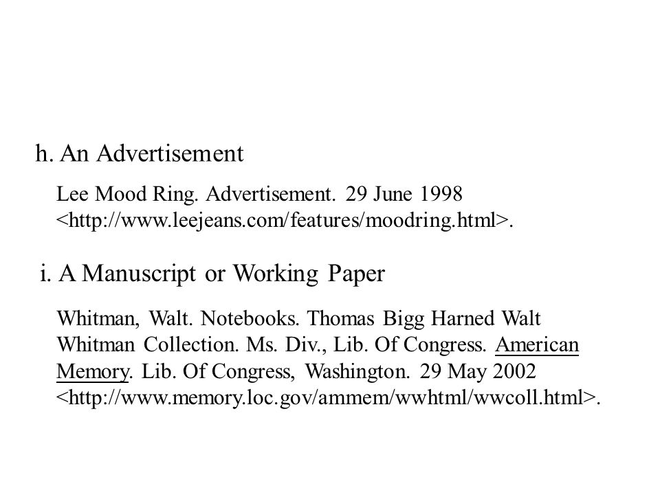h. An Advertisement i. A Manuscript or Working Paper Lee Mood Ring.