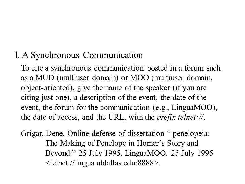 l. A Synchronous Communication Grigar, Dene.