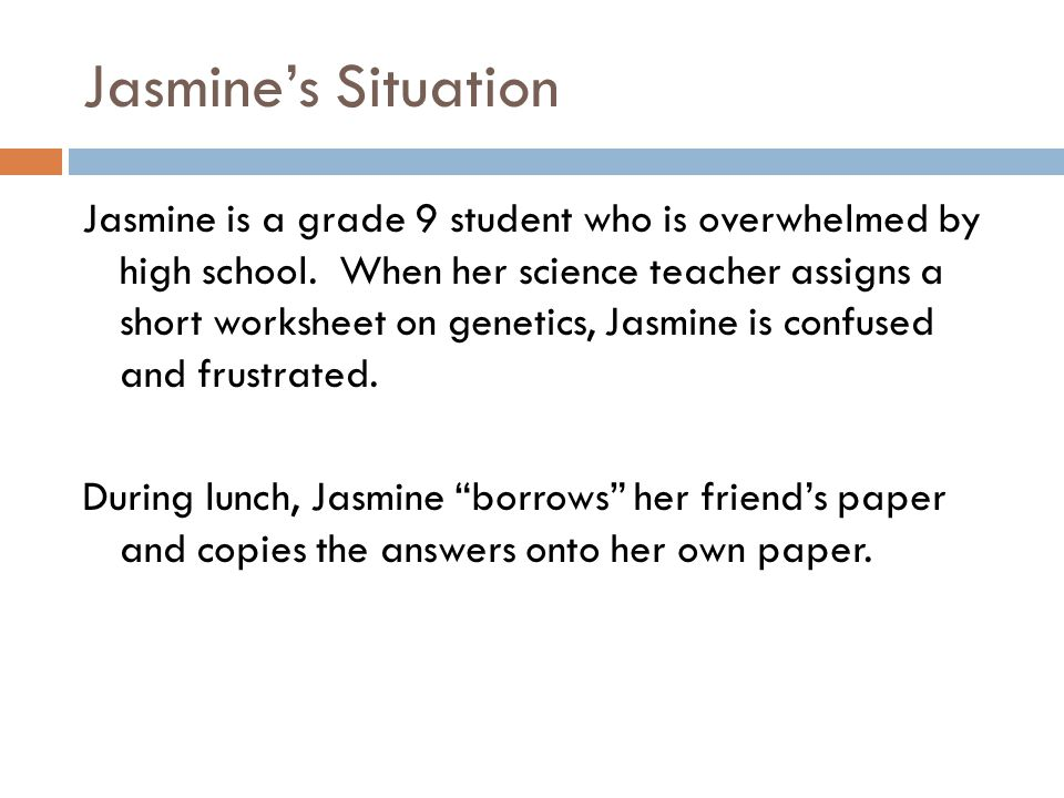 Jasmine is a grade 9 student who is overwhelmed by high school.