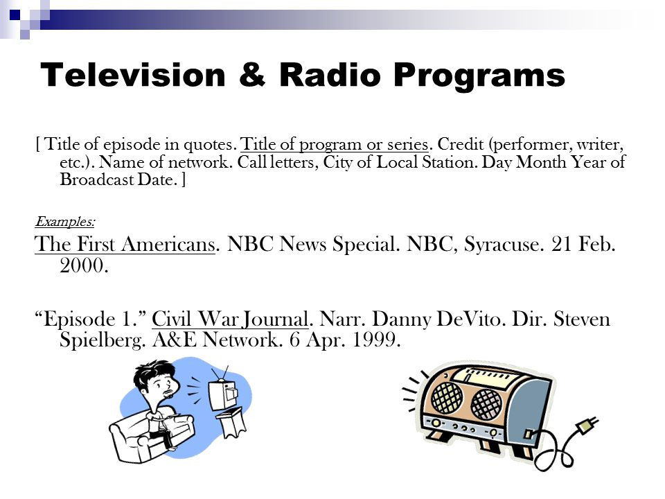 Videocassette, DVD, Filmstrip, Slide Program Title.