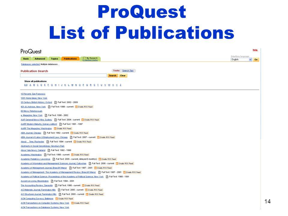 ProQuest List of Publications 14