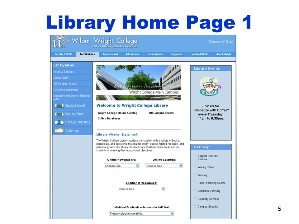 Library Home Page 1 5