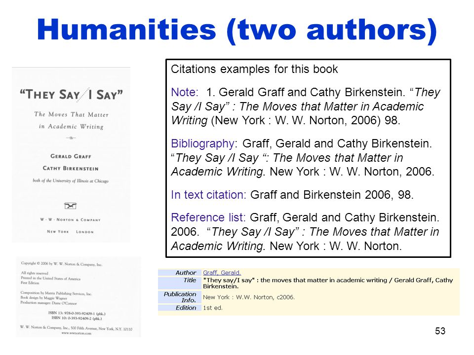 Humanities (two authors) 53 Citations examples for this book Note: 1.