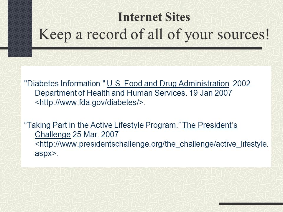 Internet Sites Keep a record of all of your sources.