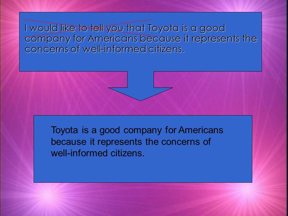 I would like to tell you that Toyota is a good company for Americans because it represents the concerns of well-informed citizens.