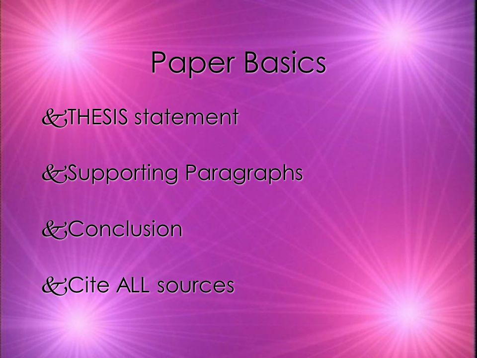 Paper Basics kTHESIS statement kSupporting Paragraphs kConclusion kCite ALL sources kTHESIS statement kSupporting Paragraphs kConclusion kCite ALL sources