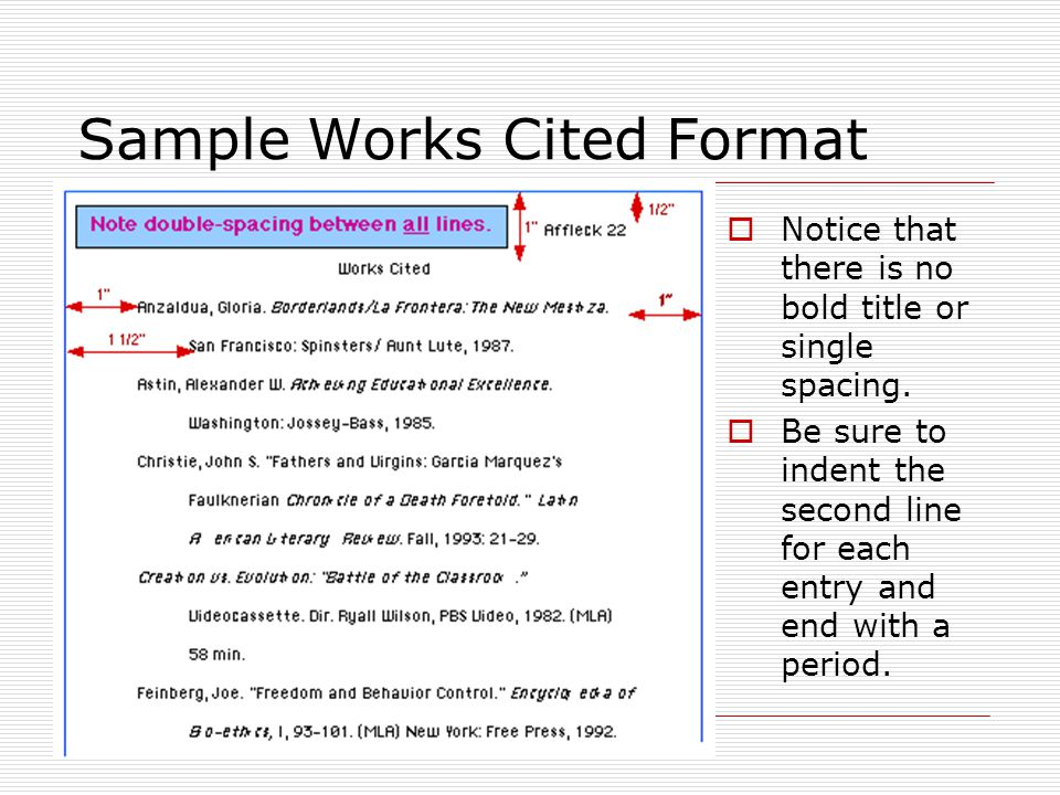 Sample Works Cited Format  Notice that there is no bold title or single spacing.  Be sure to indent the second line for each entry and end with a pe