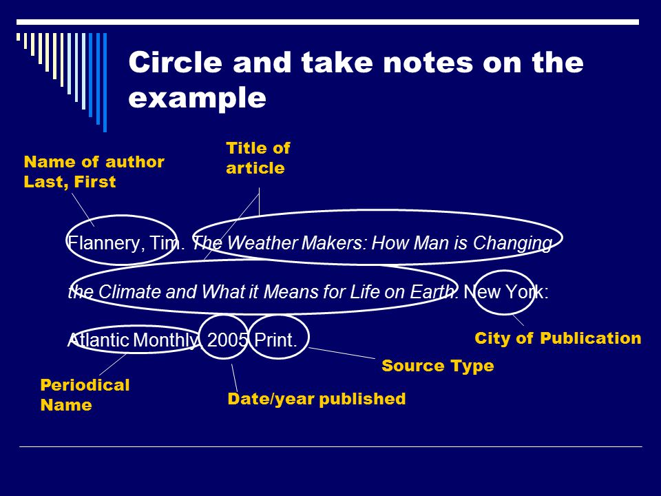 Circle and take notes on the example Flannery, Tim.