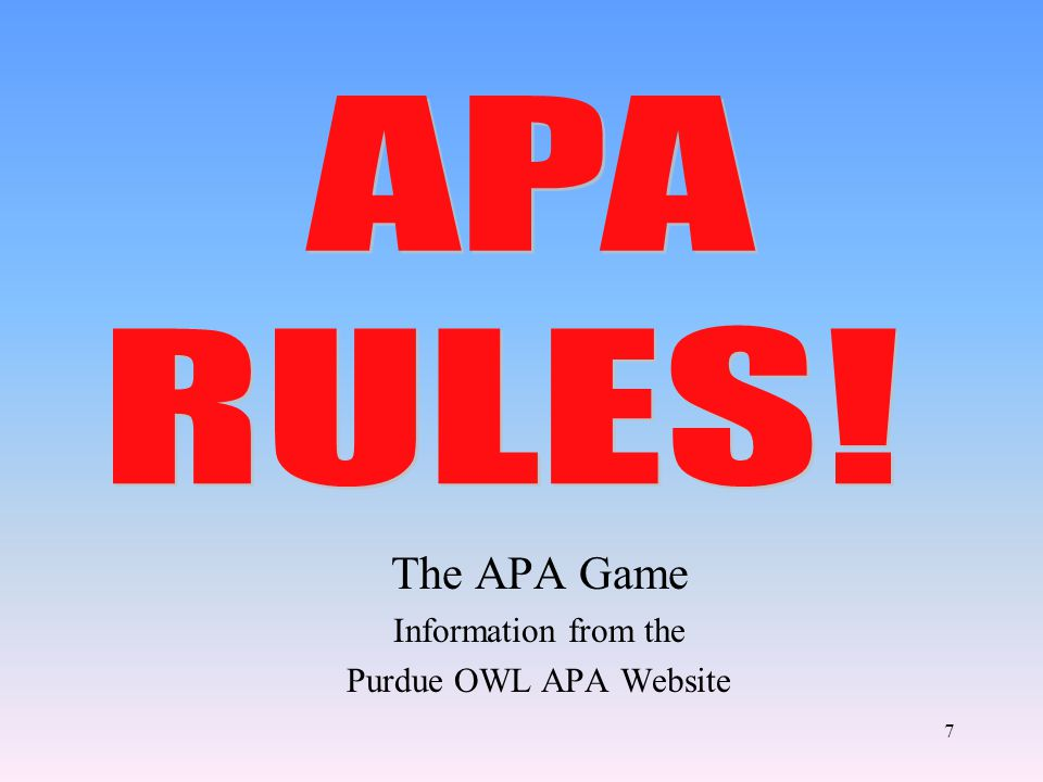 The APA Game Information from the Purdue OWL APA Website 7