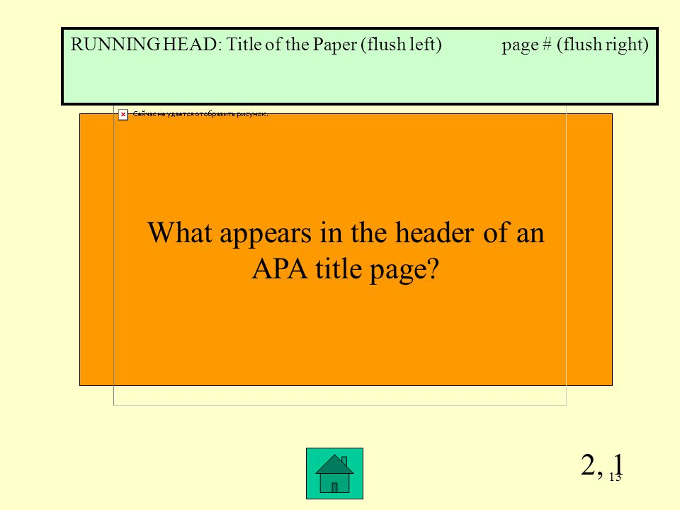 2, 1 What appears in the header of an APA title page.