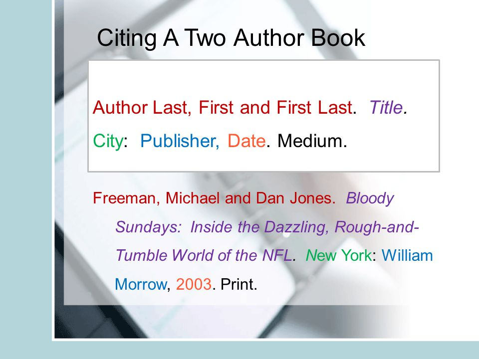 Citing A Two Author Book Freeman, Michael and Dan Jones.