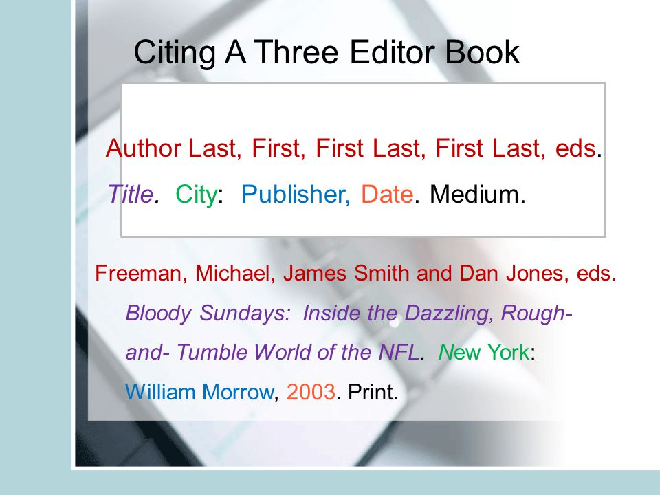 Citing A Three Editor Book Freeman, Michael, James Smith and Dan Jones, eds.