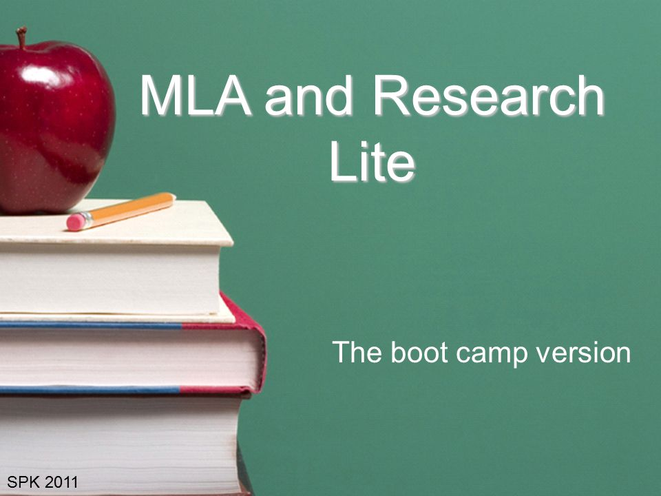 MLA and Research Lite The boot camp version SPK 2011