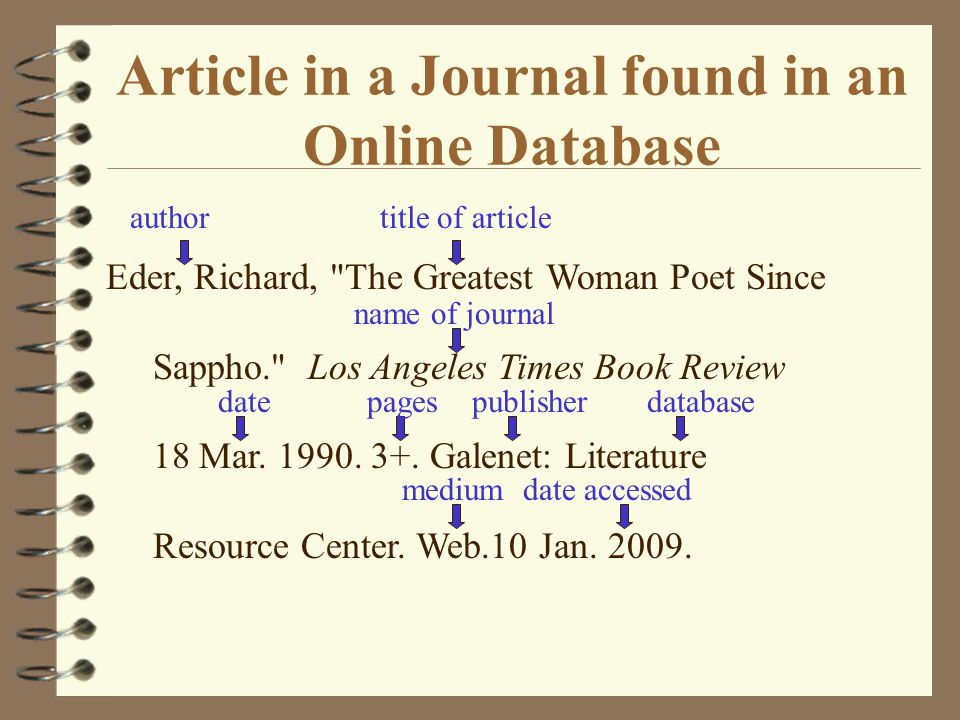 Article in a Journal found in an Online Database author title of article name of journal Eder, Richard, The Greatest Woman Poet Since Sappho. Los Angeles Times Book Review 18 Mar.
