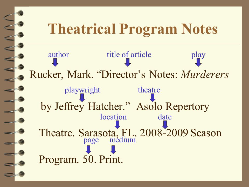Theatrical Program Notes Rucker, Mark.