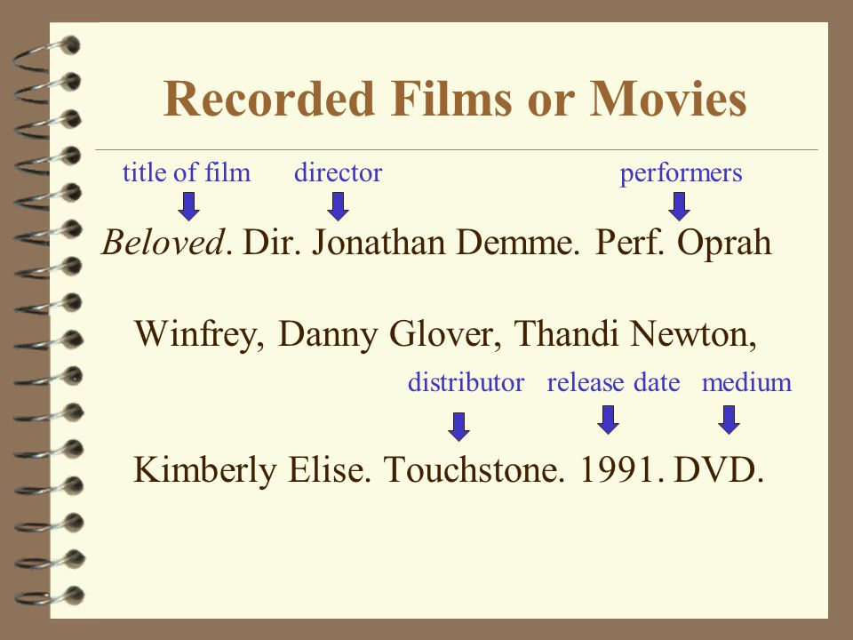 Recorded Films or Movies Beloved. Dir. Jonathan Demme.