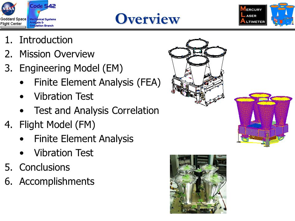 Overview 1.Introduction 2.Mission Overview 3.Engineering Model (EM) Finite Element Analysis (FEA) Vibration Test Test and Analysis Correlation 4.Flight Model (FM) Finite Element Analysis Vibration Test 5.Conclusions 6.Accomplishments