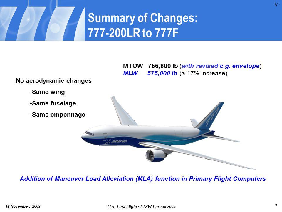12 November, 2009 777F First Flight - FTSW Europe 2009 8 777F Airplane Description Flight Envelope P