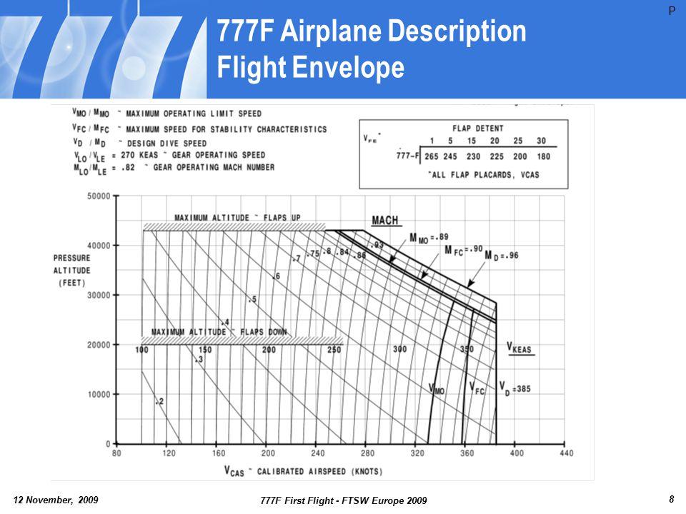 12 November, 2009 777F First Flight - FTSW Europe 2009 9 777F Airplane Description GW/CG Envelope V