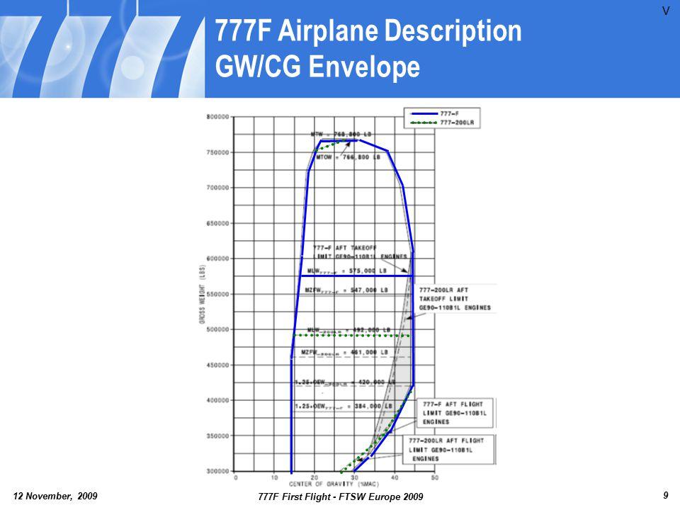 12 November, 2009 777F First Flight - FTSW Europe 2009 30 Agenda 777F Airplane Description/Background Preparation Activities First Flight Day First Flight Part 2 Lessons Learned Summary V