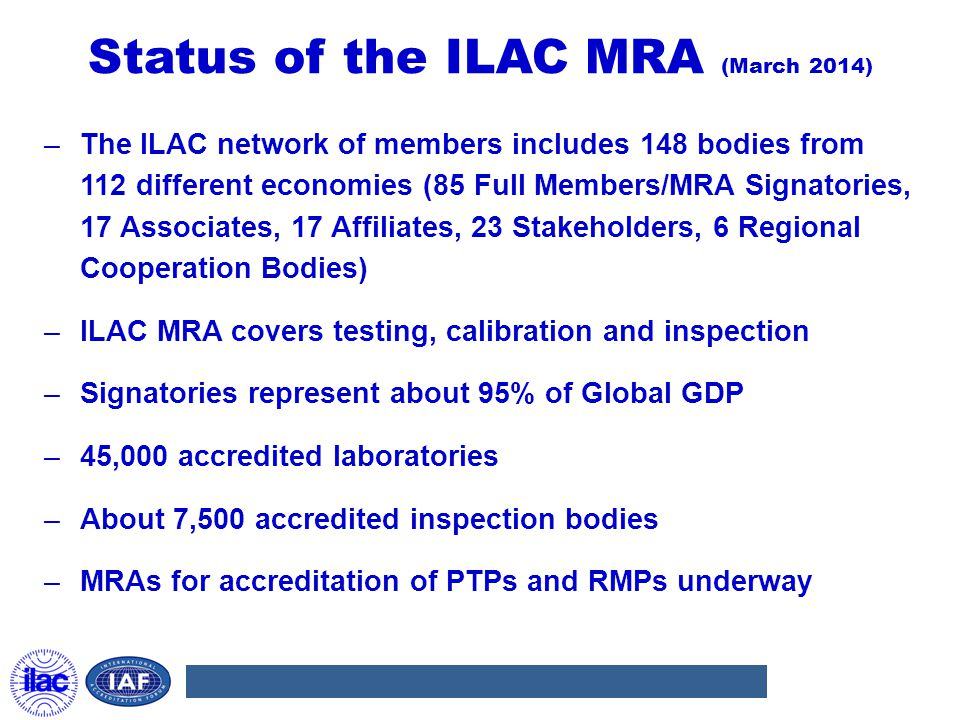 Status of the ILAC MRA (March 2014) –The ILAC network of members includes 148 bodies from 112 different economies (85 Full Members/MRA Signatories, 17