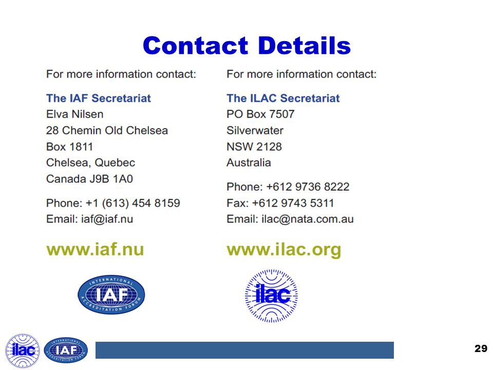 Contact Details 29