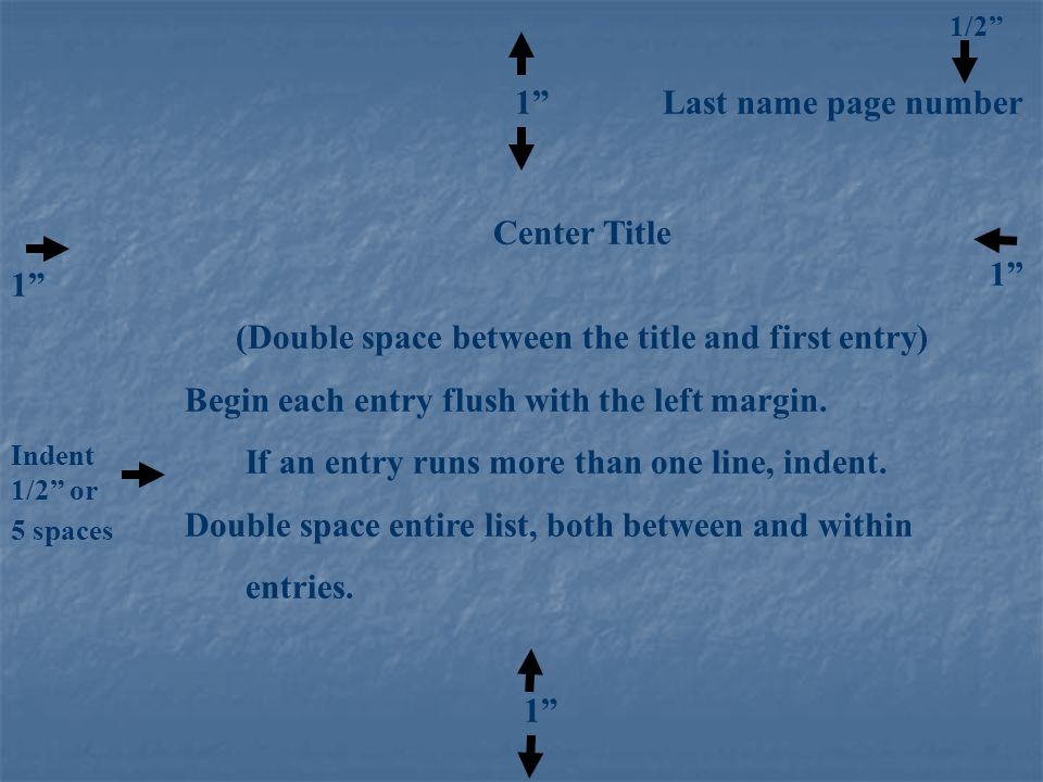 """1/2"""" 1"""" Last name page number Center Title (Double space between the title and first entry) Begin each entry flush with the left margin. If an entry r"""