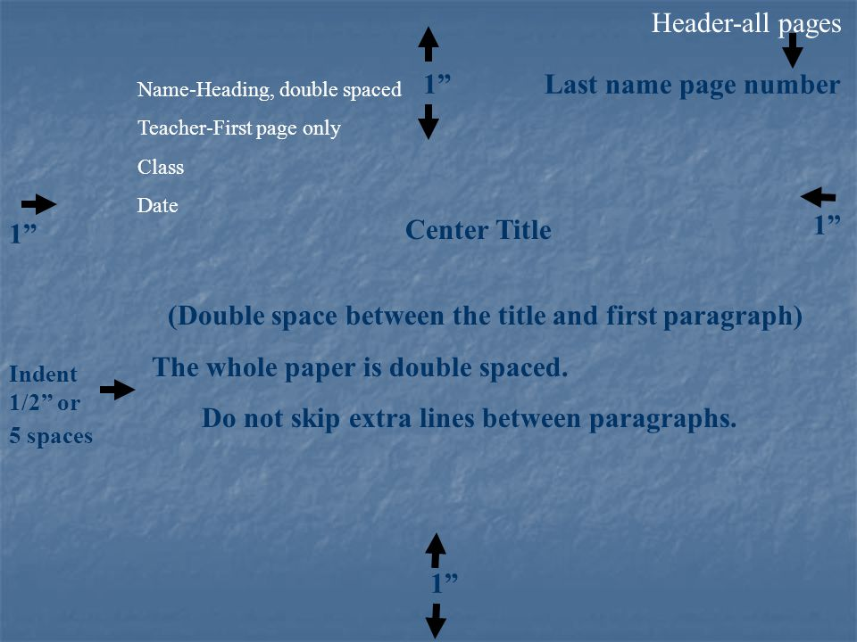 Header-all pages 1 Last name page number Center Title (Double space between the title and first paragraph) The whole paper is double spaced.