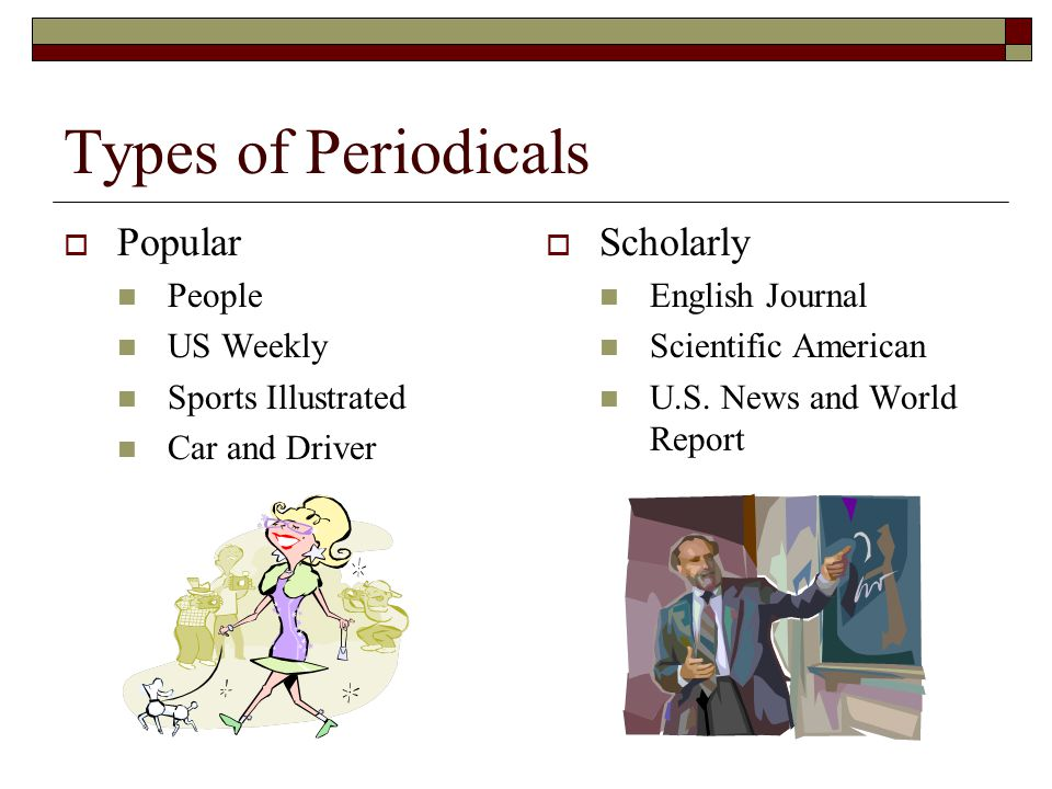 Types of Periodicals  Popular People US Weekly Sports Illustrated Car and Driver  Scholarly English Journal Scientific American U.S. News and World