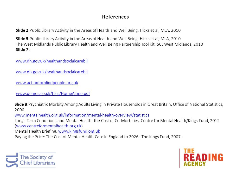 References Slide 2:Public Library Activity in the Areas of Health and Well Being, Hicks et al, MLA, 2010 Slide 5:Public Library Activity in the Areas of Health and Well Being, Hicks et al, MLA, 2010 The West Midlands Public Library Health and Well Being Partnership Tool Kit, SCL West Midlands, 2010 Slide 7: www.dh.gov.uk/healthandsocialcarebill www.actionforblindpeople.org.uk www.demos.co.uk/files/HomeAlone.pdf Slide 8:Psychiatric Morbity Among Adults Living in Private Households in Great Britain, Office of National Statistics, 2000 www.mentalhealth.org.uk/information/mental-health-overview/statistics Long –Term Conditions and Mental Health: the Cost of Co-Morbities, Centre for Mental Health/Kings Fund, 2012 (www.centreformentalhealth.org.uk)www.centreformentalhealth.org.uk Mental Health Briefing, www.kingsfund.org.ukwww.kingsfund.org.uk Paying the Price: The Cost of Mental Health Care in England to 2026, The Kings Fund, 2007.