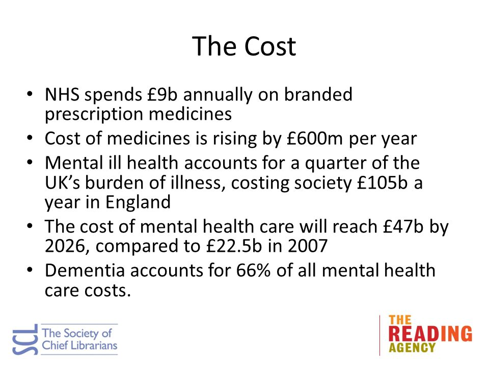 The Cost NHS spends £9b annually on branded prescription medicines Cost of medicines is rising by £600m per year Mental ill health accounts for a quar