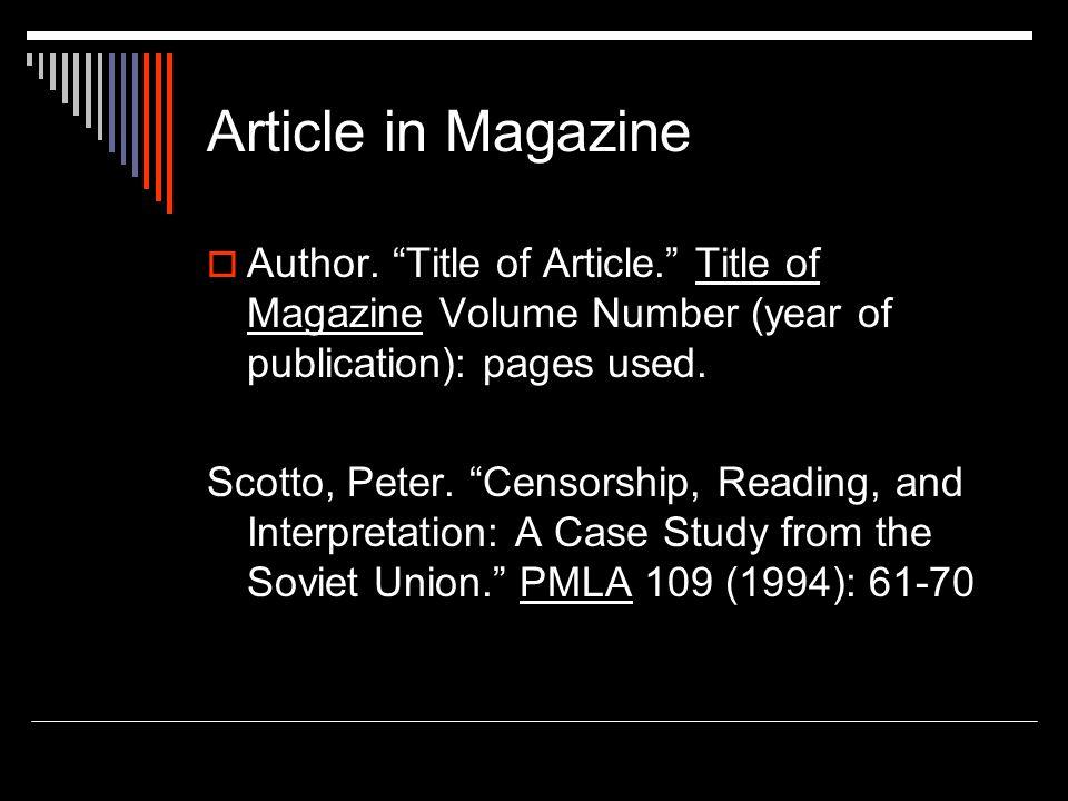 Article in Magazine  Author.