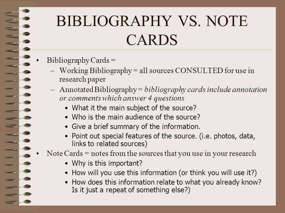 BIBLIOGRAPHY VS.