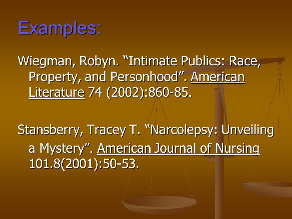 Examples: Wiegman, Robyn. Intimate Publics: Race, Property, and Personhood .
