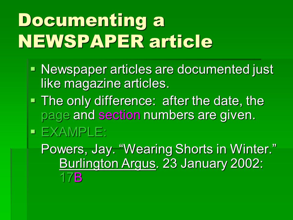 Documenting a MAGAZINE: Example 2: Magazine Article from ProQuest Direct.