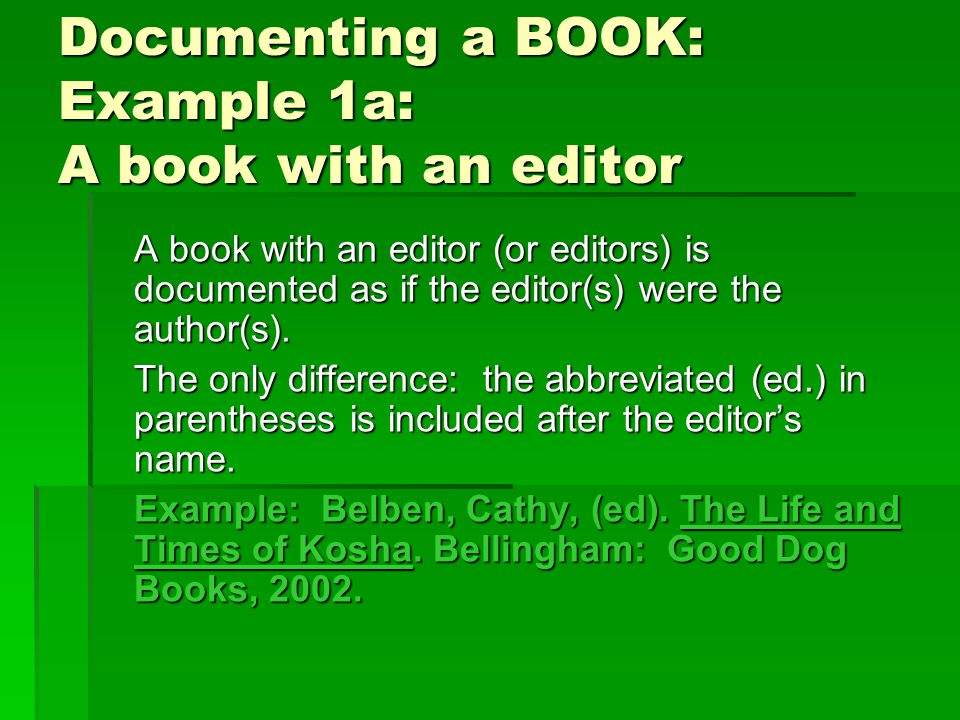 Documenting a WEB SITE: Instructions You need this information: 1.Title of web page 2.Name of author or editor, if given 3.Electronic publication information, including date of publication or latest update, and the sponsoring institution or organization, if given.