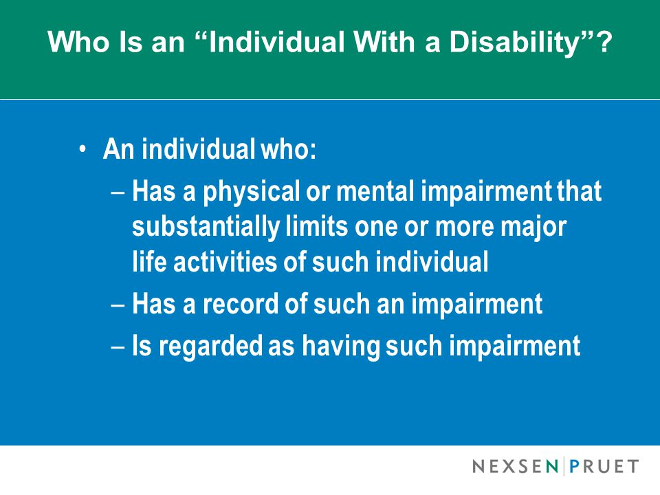 Who Is an Individual With a Disability .
