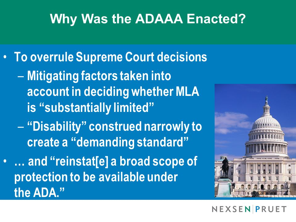 Why Was the ADAAA Enacted.