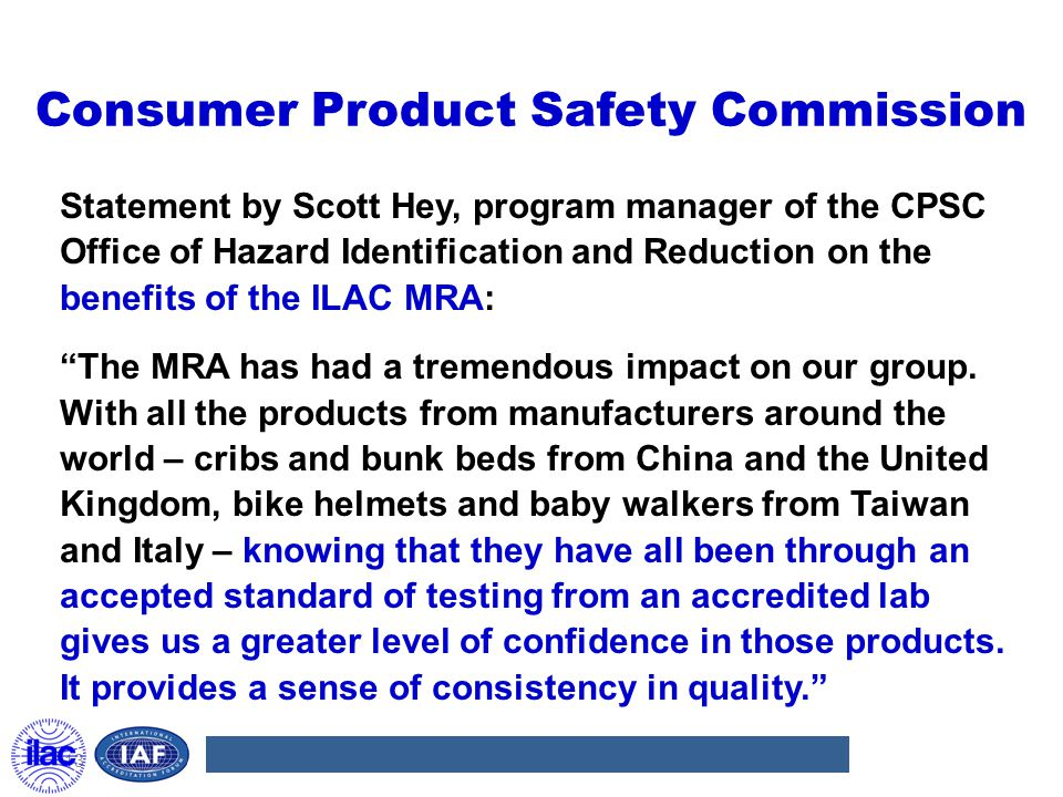 Consumer Product Safety Commission Statement by Scott Hey, program manager of the CPSC Office of Hazard Identification and Reduction on the benefits o