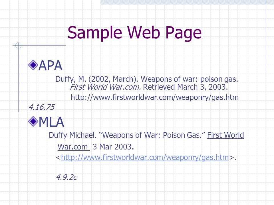 Sample Web Page APA Duffy, M. (2002, March). Weapons of war: poison gas.