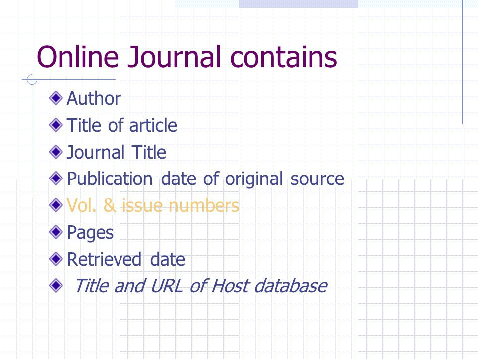 Online Journal contains Author Title of article Journal Title Publication date of original source Vol.