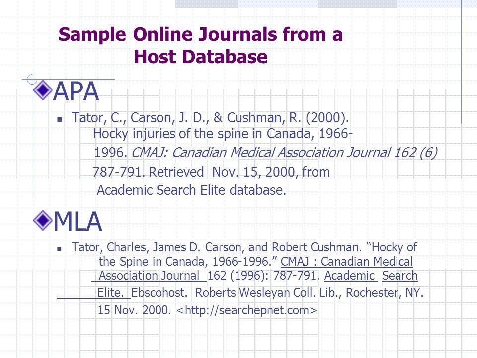 APA Tator, C., Carson, J. D., & Cushman, R. (2000).
