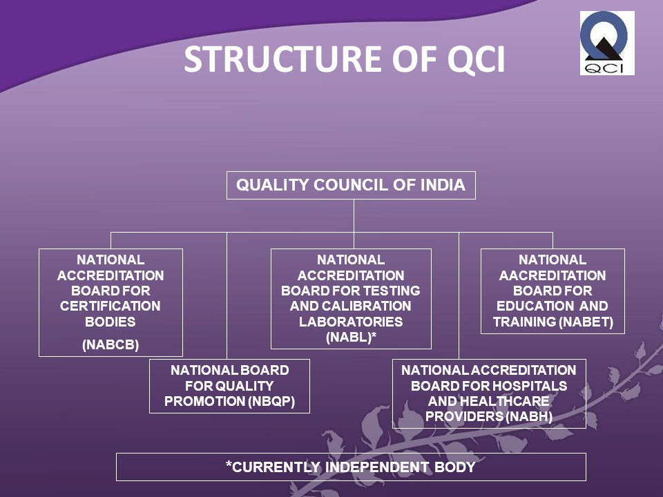 STRUCTURE OF QCI QUALITY COUNCIL OF INDIA NATIONAL ACCREDITATION BOARD FOR CERTIFICATION BODIES (NABCB) NATIONAL BOARD FOR QUALITY PROMOTION (NBQP) NATIONAL ACCREDITATION BOARD FOR TESTING AND CALIBRATION LABORATORIES (NABL)* NATIONAL AACREDITATION BOARD FOR EDUCATION AND TRAINING (NABET) NATIONAL ACCREDITATION BOARD FOR HOSPITALS AND HEALTHCARE PROVIDERS (NABH) * CURRENTLY INDEPENDENT BODY