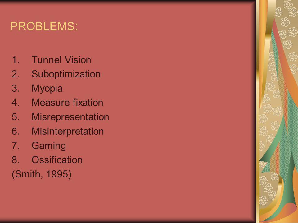 PROBLEMS: 1.Tunnel Vision 2.Suboptimization 3.Myopia 4.Measure fixation 5.Misrepresentation 6.Misinterpretation 7.Gaming 8.Ossification (Smith, 1995)