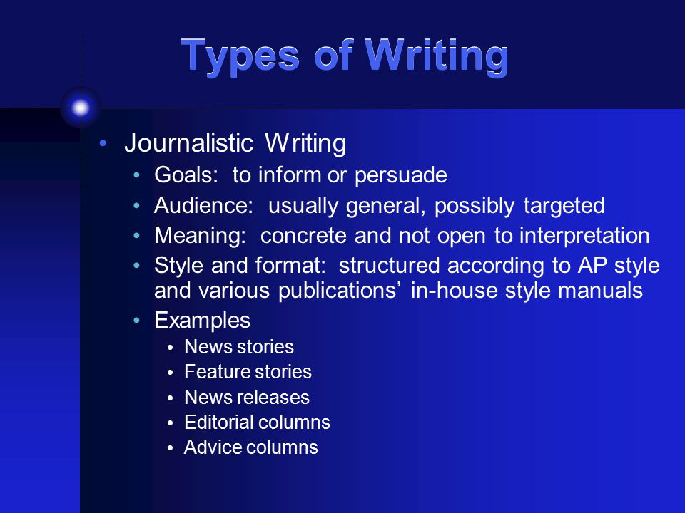 Types of Writing Academic Writing Goals: to demonstrate understanding of complex topics, to explore new concepts Audience: usually an instructor, but other experts if work is publishable Meaning: concrete and not open to interpretation Style and format: structured according to various academic style manuals (Chicago, APA, MLA, American Society of Agronomists, etc.) and instructor's directions Examples Essays and subjective exams Class research and other project papers Position papers and literature reviews