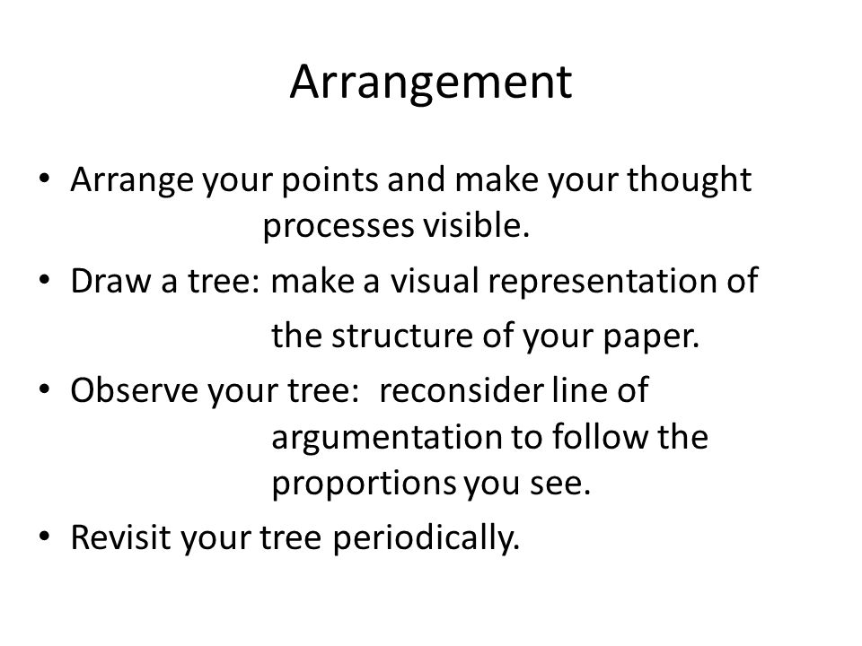 Arrangement Arrange your points and make your thought processes visible.
